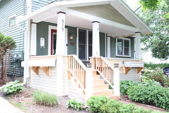 home with reconstructed porch and siding