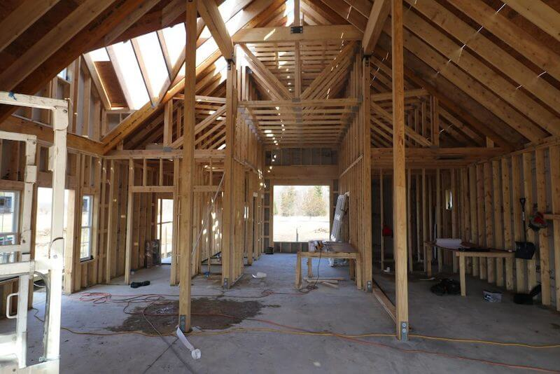 rough carpentry framing of a new home construction in Southeast Michigan
