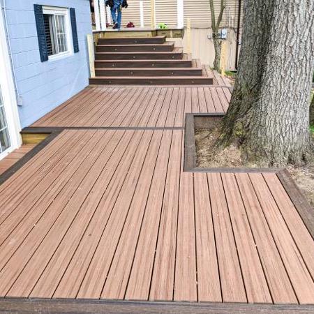 composite deck outlined in darker color