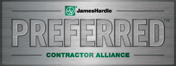 James Hardie preferred logo in Silver with green writing
