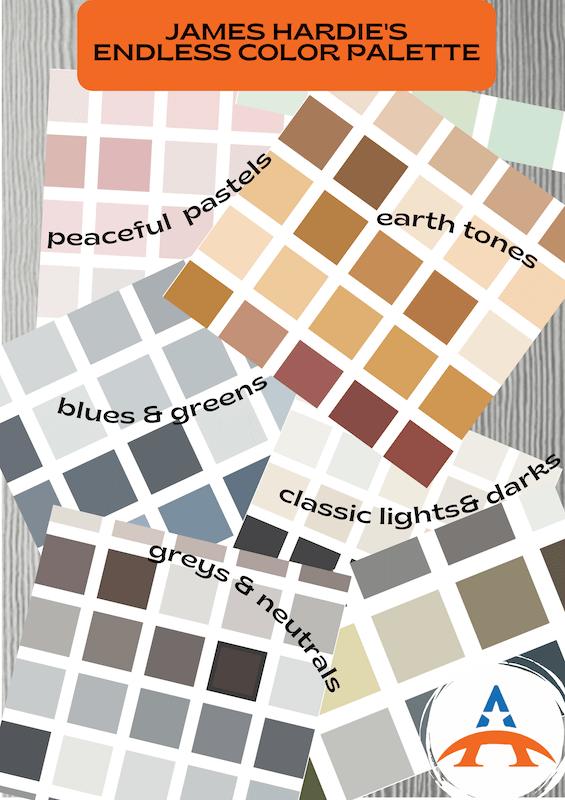 sample color palettes for James Hardie siding