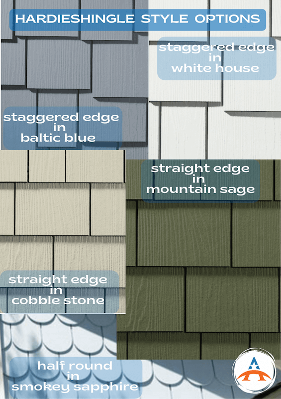 hardieshingle samples in different colors and styles