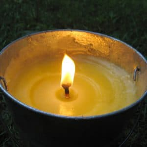 citronella candle with flame to ward off mosquitoes at Michigan deck party
