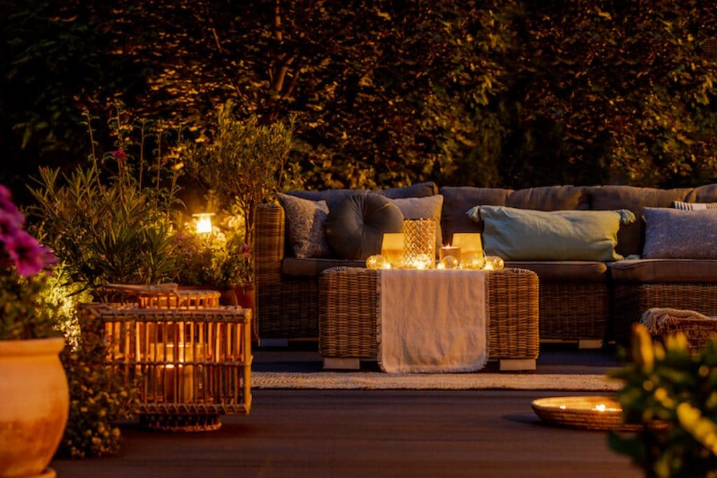 furniture and candles on Michigan deck