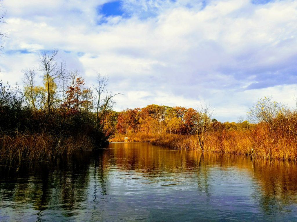 river in fall close to heavner canoe rentals