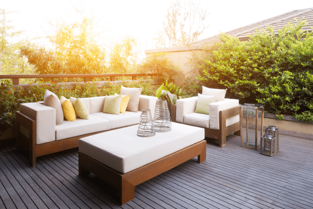 composite deck with deck furniture