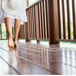 lady walking on a composite deck