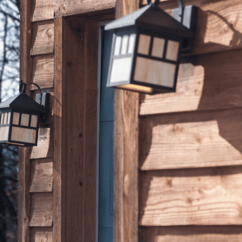 wood siding with light fixture